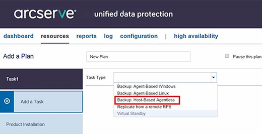 Arcserve UDP agentless backup