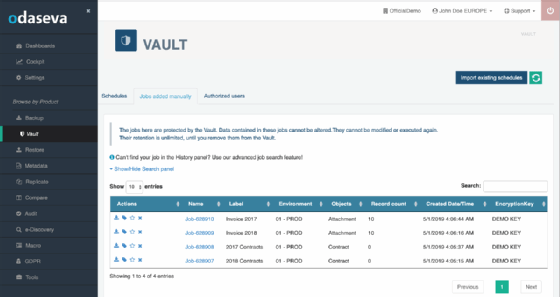 Screenshot of Odaseva Vault's dashboard