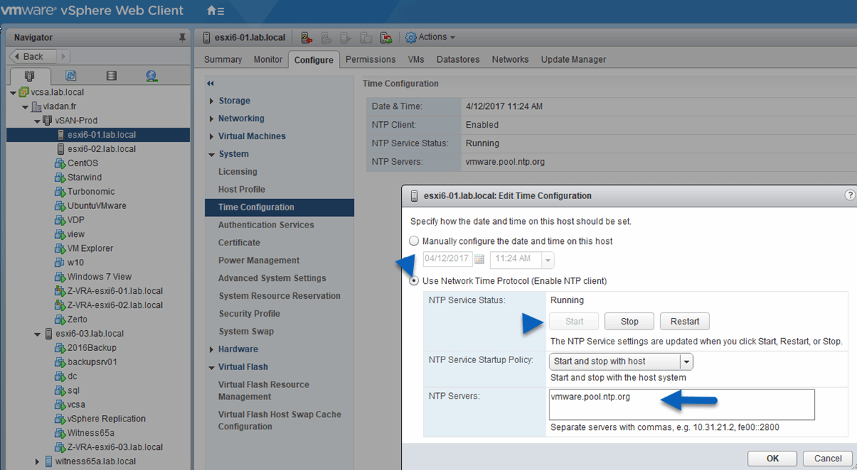 How do you configure ESXi time sync through the vSphere Web