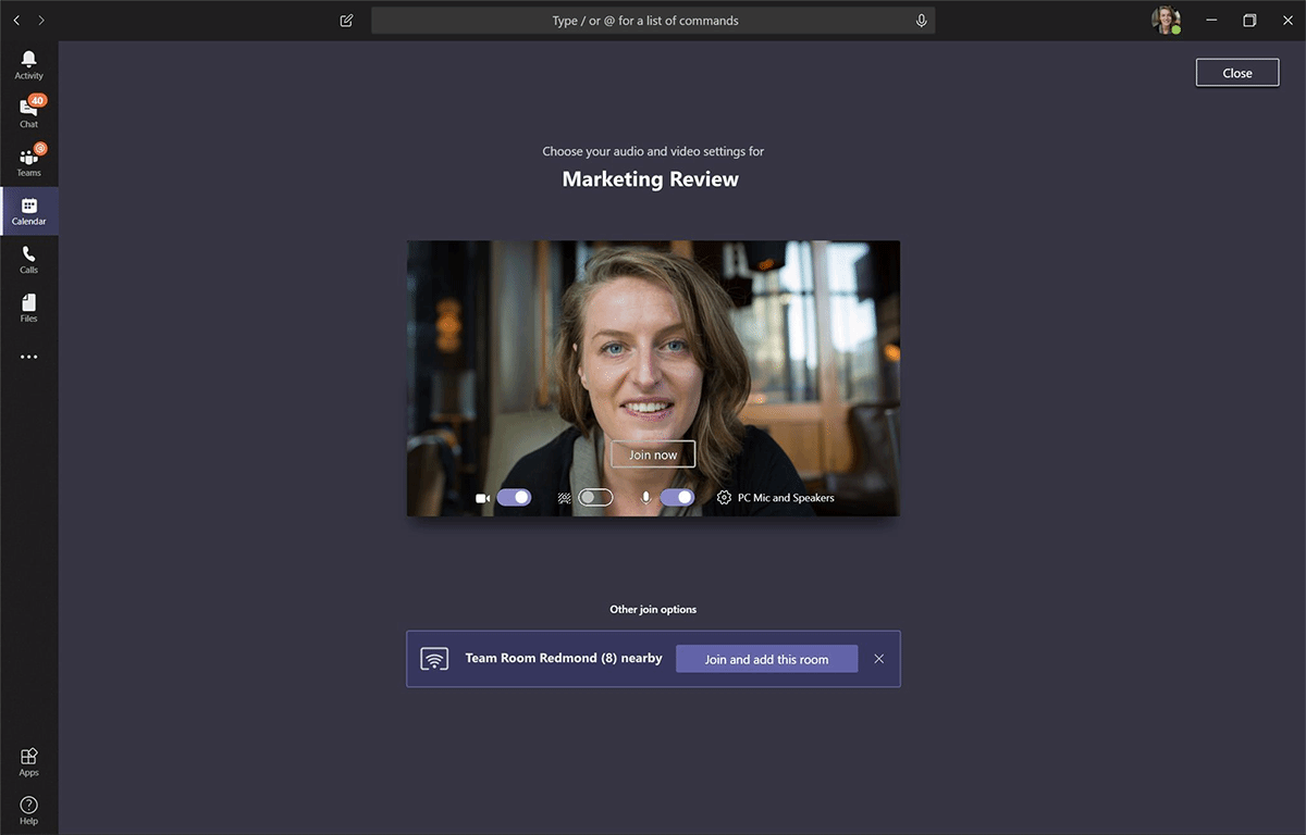 Users can now connect to Microsoft Teams rooms based on