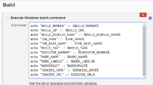 Jenkins environment variables list for shell script build jobs
