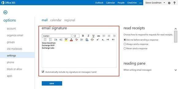 Edit signature in OWA
