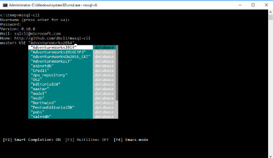 a typical mssql cli query prompt