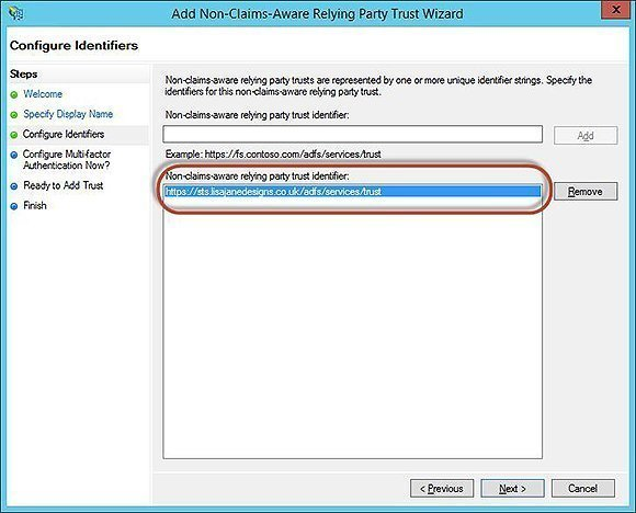 Non-claims-aware relying trust party identifier wizard