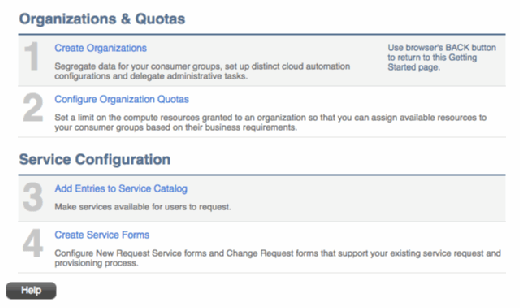 VCommander service catalog and quotas