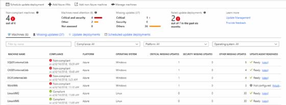Azure Update Management status screen - Server Patching with Azure Update Management for Azure Servers