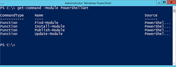 You can get a list of PowerShellGet cmdlets