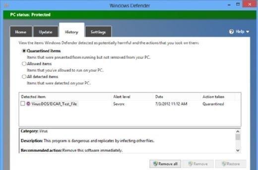 Windows Defender interface