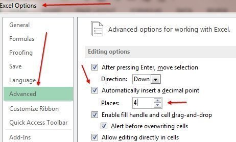 advanced Excel options