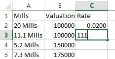 rate column