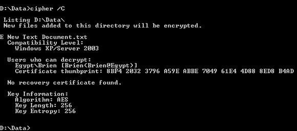 The Cipher command helps determine who can access EFS encrypted files