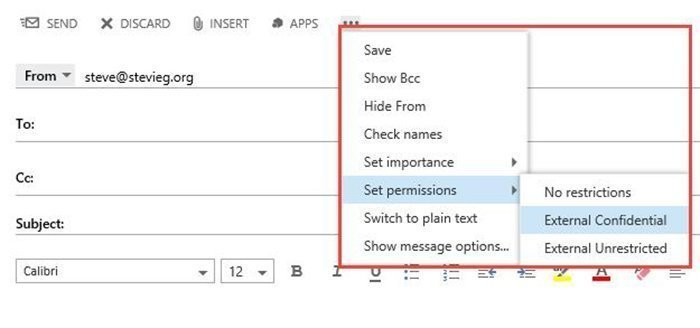 Set rules with Office 365 message classification