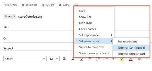 Message classifications in OWA