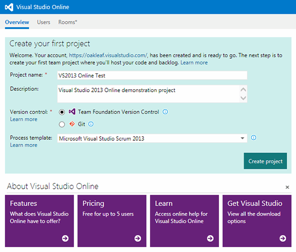 Visual Studio Online First Project