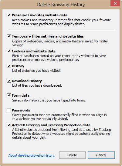 Delete IE 10's browsing history to fix odd behavior.
