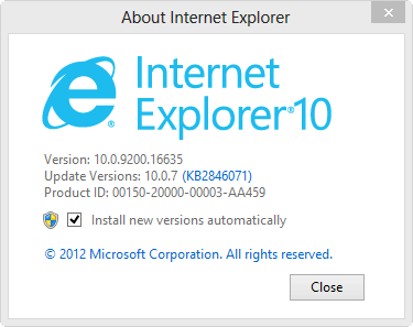Note that IE 10 updates itself automatically.