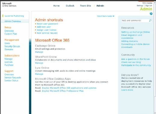 Office 365 admin desktop