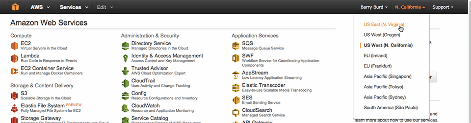 Figure 1: A list of Amazon Web services