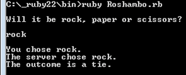 A successful run of the roshambo app, written in Ruby.