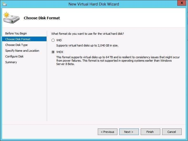 Windows Server 2012 supports VHD and VHDX virtual hard disks
