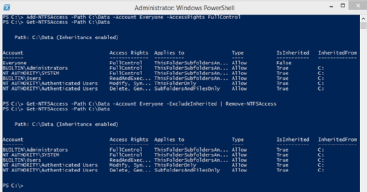 This PowerShell module takes control of NTFS permissions