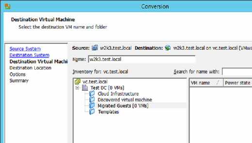 Choose the VM name and folder