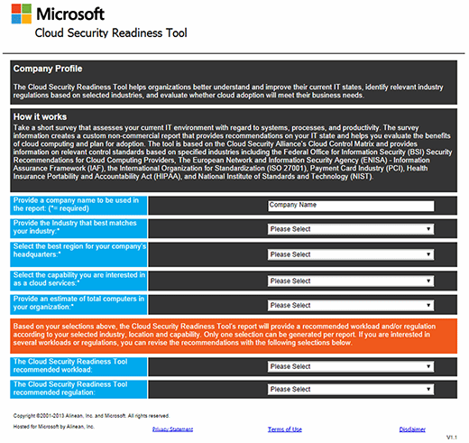 screen shot of Microsoft Cloud Security Readiness Tool (CSRT)