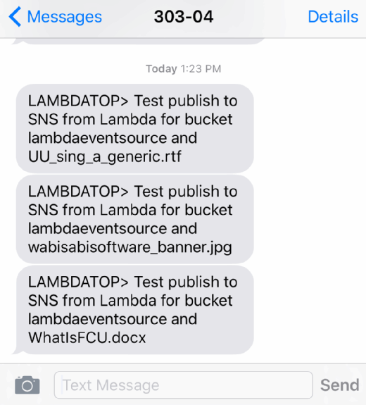Text messages sent by the AWS Lambda function are displayed.