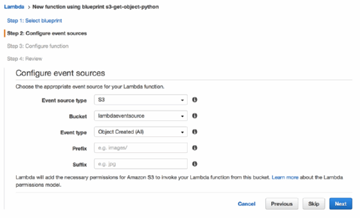 Developers configure event resources in AWS Lambda.