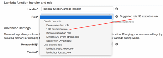 Select an IAM role for the Lambda function.
