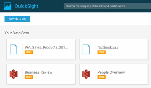 Choose data sets for this Amazon QuickSight tutorial.