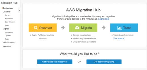 AWS Migration Hub dashboard
