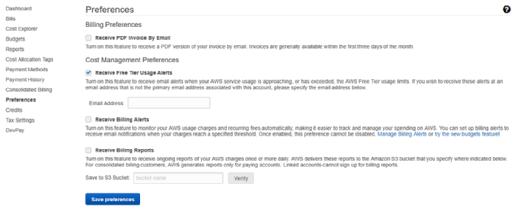 Set up free tier usage alerts.