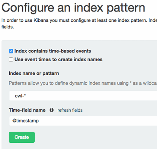 Configure the index pattern for data sent by CloudWatch Logs to Elasticsearch.