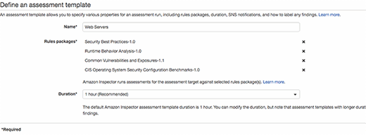 Specify configurations for an assessment run.