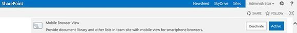 Sharepoint, activate or deactivate, mobile browser view