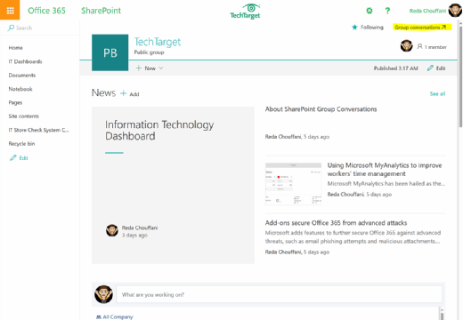 Example of SharePoint group dashboard