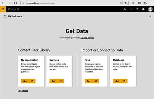 Power BI Get Data page
