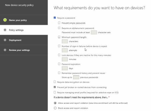 Screenshot of defining requirements for devices