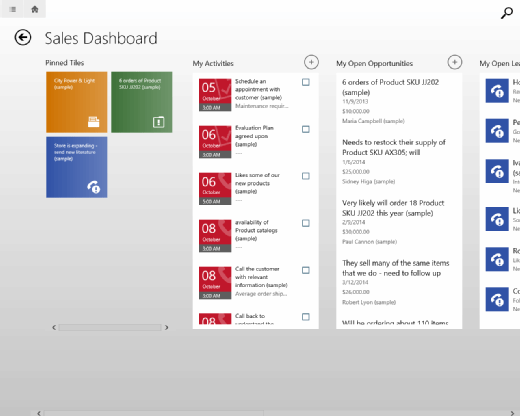 Microsoft Dynamics CRM UI on a Windows tablet