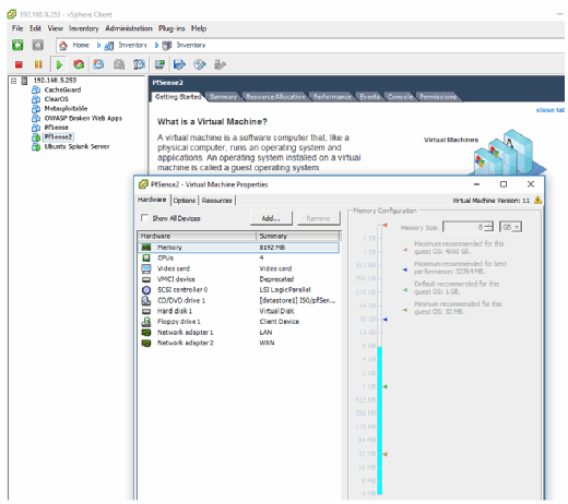 Creating a VM for testing in VMware