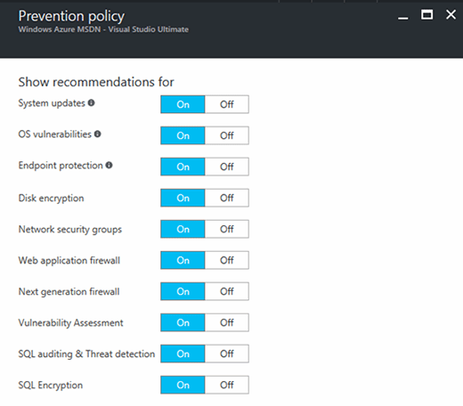 View your Azure prevention policy