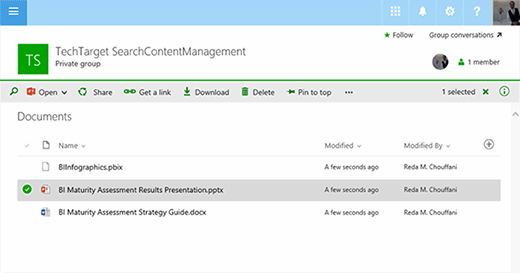 Microsoft Groups can be used as a document repository.