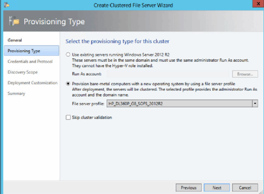 Select a provisioning type.