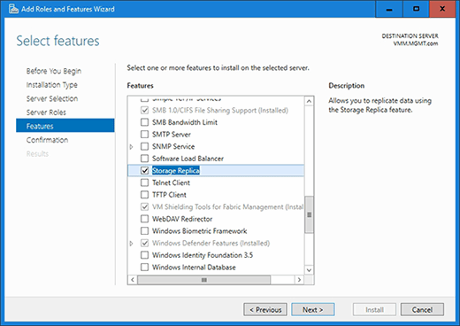 Storage Replica, cluster-to-cluster, replication, Windows Server 2016