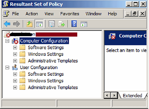 The red bar in MMC shows user or computer configuration problems.