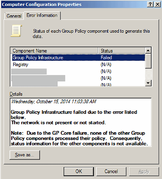 Click on the Error Information tab to learn why a GPO failed.