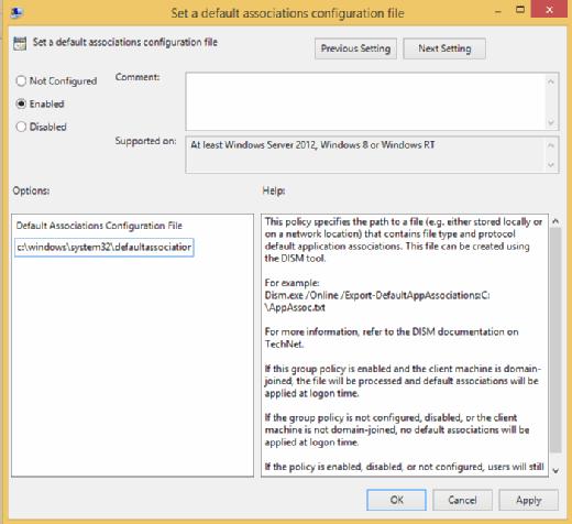 Where to set a default associations configuration