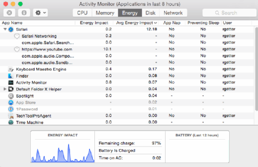 You can diagnose laptop battery problems with the Energy tab