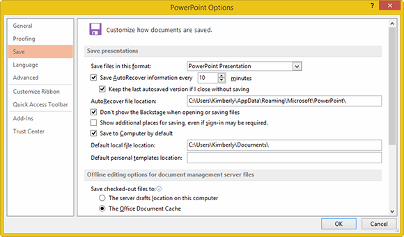 Changed settings in one Office 2013 application apply to all Office 2013 apps
